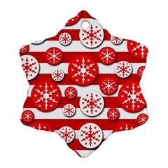 Snowflake red and white pattern Snowflake Ornament (2-Side)