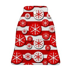 Snowflake red and white pattern Bell Ornament (2 Sides)