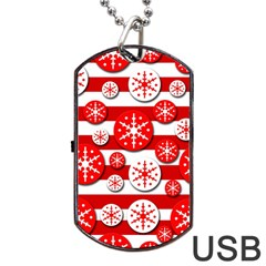 Snowflake red and white pattern Dog Tag USB Flash (Two Sides)