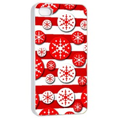 Snowflake red and white pattern Apple iPhone 4/4s Seamless Case (White)