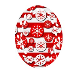 Snowflake red and white pattern Ornament (Oval Filigree)