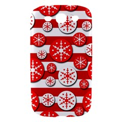 Snowflake red and white pattern Samsung Galaxy S III Hardshell Case