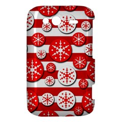 Snowflake red and white pattern HTC Wildfire S A510e Hardshell Case