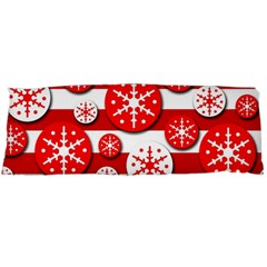 Snowflake red and white pattern Body Pillow Case Dakimakura (Two Sides)