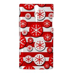 Snowflake red and white pattern Sony Xperia S