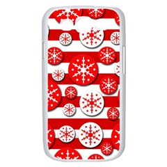 Snowflake red and white pattern Samsung Galaxy S III Case (White)