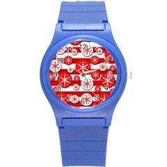 Snowflake red and white pattern Round Plastic Sport Watch (S)