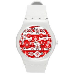 Snowflake red and white pattern Round Plastic Sport Watch (M)