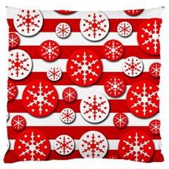 Snowflake red and white pattern Large Cushion Case (One Side)