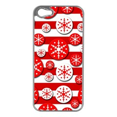 Snowflake red and white pattern Apple iPhone 5 Case (Silver)