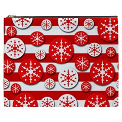 Snowflake red and white pattern Cosmetic Bag (XXXL)