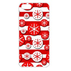 Snowflake red and white pattern Apple iPhone 5 Seamless Case (White)