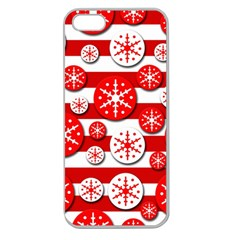 Snowflake red and white pattern Apple Seamless iPhone 5 Case (Clear)