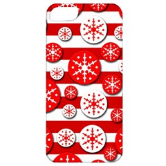 Snowflake red and white pattern Apple iPhone 5 Classic Hardshell Case