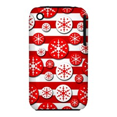 Snowflake red and white pattern Apple iPhone 3G/3GS Hardshell Case (PC+Silicone)