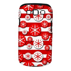 Snowflake red and white pattern Samsung Galaxy S III Classic Hardshell Case (PC+Silicone)