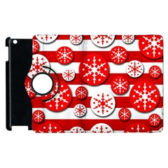Snowflake red and white pattern Apple iPad 3/4 Flip 360 Case