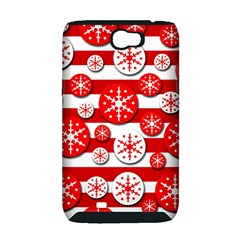 Snowflake red and white pattern Samsung Galaxy Note 2 Hardshell Case (PC+Silicone)