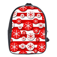 Snowflake red and white pattern School Bags (XL)