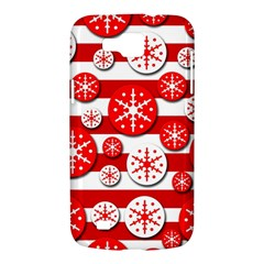 Snowflake red and white pattern Samsung Galaxy Premier I9260 Hardshell Case