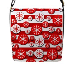 Snowflake red and white pattern Flap Messenger Bag (L)