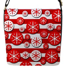 Snowflake Red And White Pattern Flap Messenger Bag (s)