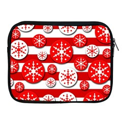 Snowflake red and white pattern Apple iPad 2/3/4 Zipper Cases
