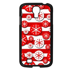 Snowflake red and white pattern Samsung Galaxy S4 I9500/ I9505 Case (Black)