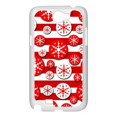 Snowflake red and white pattern Samsung Galaxy Note 2 Case (White)