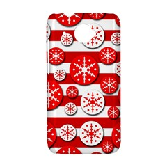 Snowflake red and white pattern HTC Desire 601 Hardshell Case
