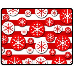 Snowflake red and white pattern Double Sided Fleece Blanket (Medium)