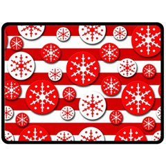 Snowflake red and white pattern Double Sided Fleece Blanket (Large)