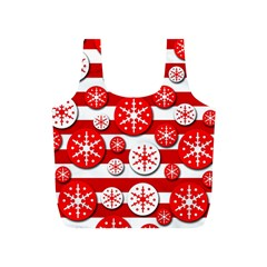 Snowflake red and white pattern Full Print Recycle Bags (S)