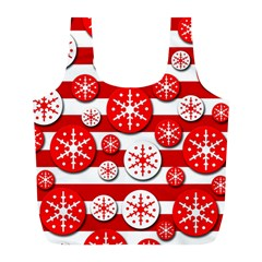 Snowflake red and white pattern Full Print Recycle Bags (L)