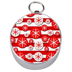 Snowflake red and white pattern Silver Compasses