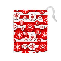 Snowflake red and white pattern Drawstring Pouches (Large)
