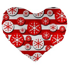 Snowflake red and white pattern Large 19  Premium Flano Heart Shape Cushions