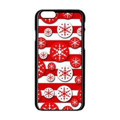 Snowflake red and white pattern Apple iPhone 6/6S Black Enamel Case