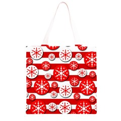 Snowflake red and white pattern Grocery Light Tote Bag