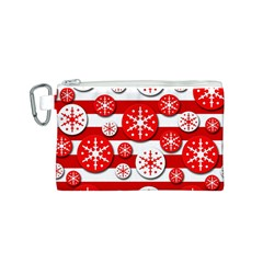 Snowflake red and white pattern Canvas Cosmetic Bag (S)