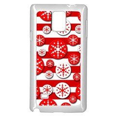 Snowflake red and white pattern Samsung Galaxy Note 4 Case (White)