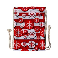 Snowflake red and white pattern Drawstring Bag (Small)