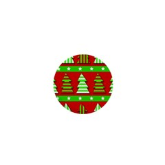Christmas trees pattern 1  Mini Buttons