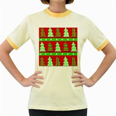 Christmas trees pattern Women s Fitted Ringer T-Shirts