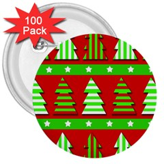 Christmas trees pattern 3  Buttons (100 pack)