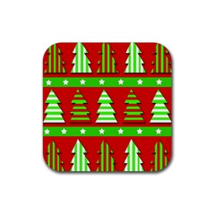 Christmas trees pattern Rubber Square Coaster (4 pack)