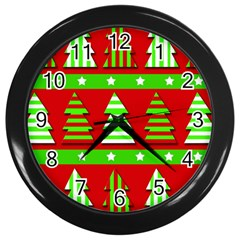 Christmas trees pattern Wall Clocks (Black)