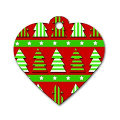 Christmas trees pattern Dog Tag Heart (Two Sides)