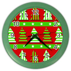 Christmas trees pattern Color Wall Clocks