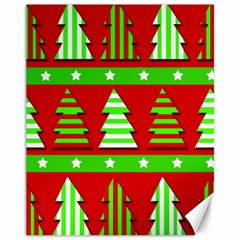 Christmas trees pattern Canvas 11  x 14